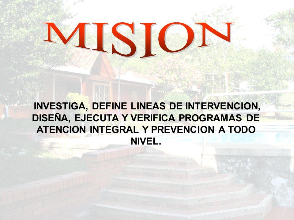 INVESTIGA, DEFINE LINEAS DE INTERVENCION, DISEÑA, EJECUTA Y VERIFICA PROGRAMAS DE ATENCION INTEGRAL Y PREVENCION A TODO NIVEL.