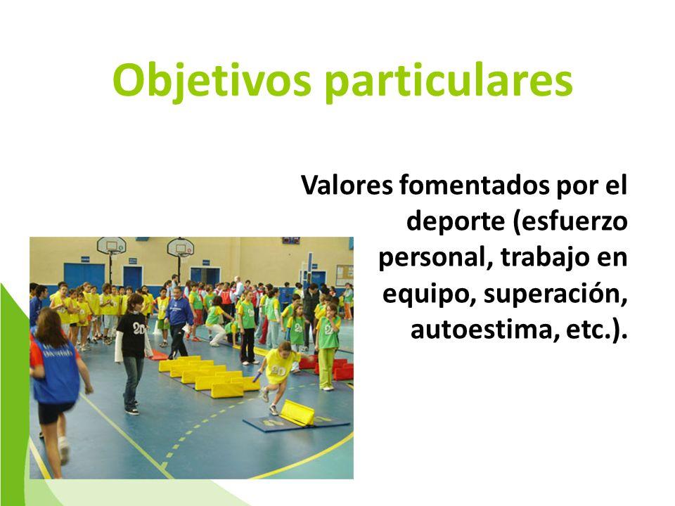 Objetivos particulares Valores fomentados por el deporte (esfuerzo personal, trabajo en equipo, superación, autoestima, etc.).