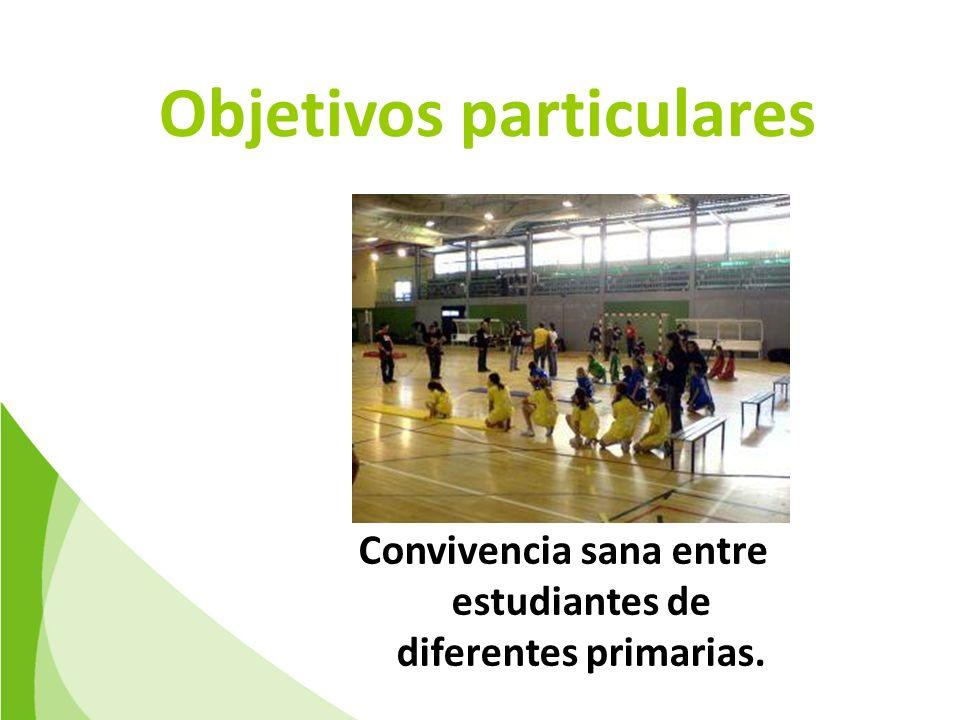 Objetivos particulares Convivencia sana entre estudiantes de diferentes primarias.