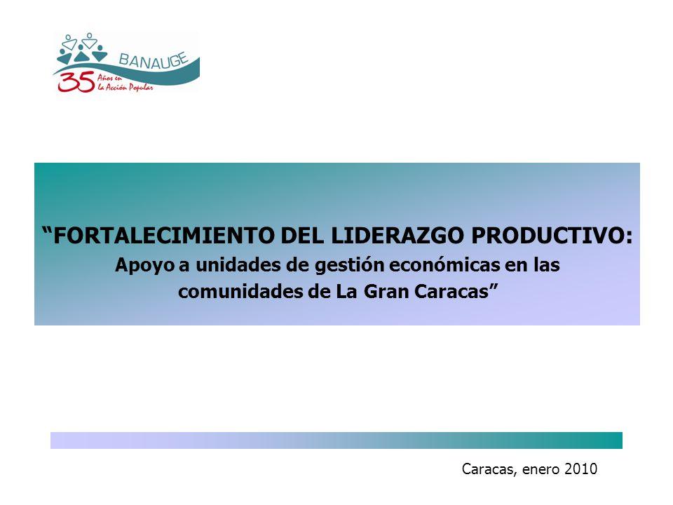 Caracas, enero 2010 FORTALECIMIENTO DEL LIDERAZGO PRODUCTIVO: Apoyo a unidades de gestión económicas en las comunidades de La Gran Caracas