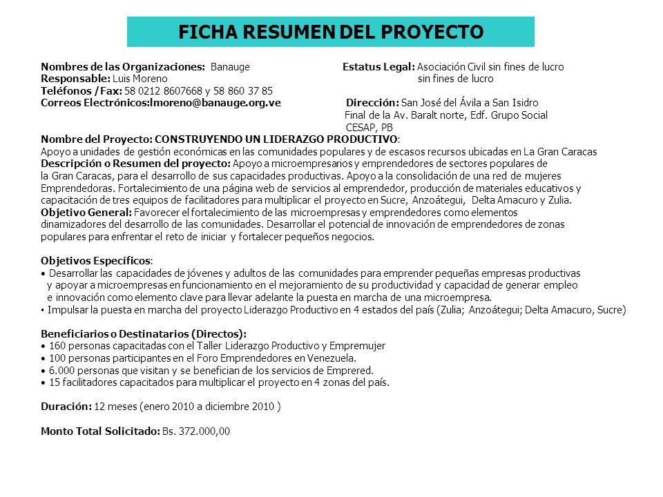 FICHA RESUMEN DEL PROYECTO Nombres de las Organizaciones: Banauge Estatus Legal: Asociación Civil sin fines de lucro Responsable: Luis Moreno sin fine