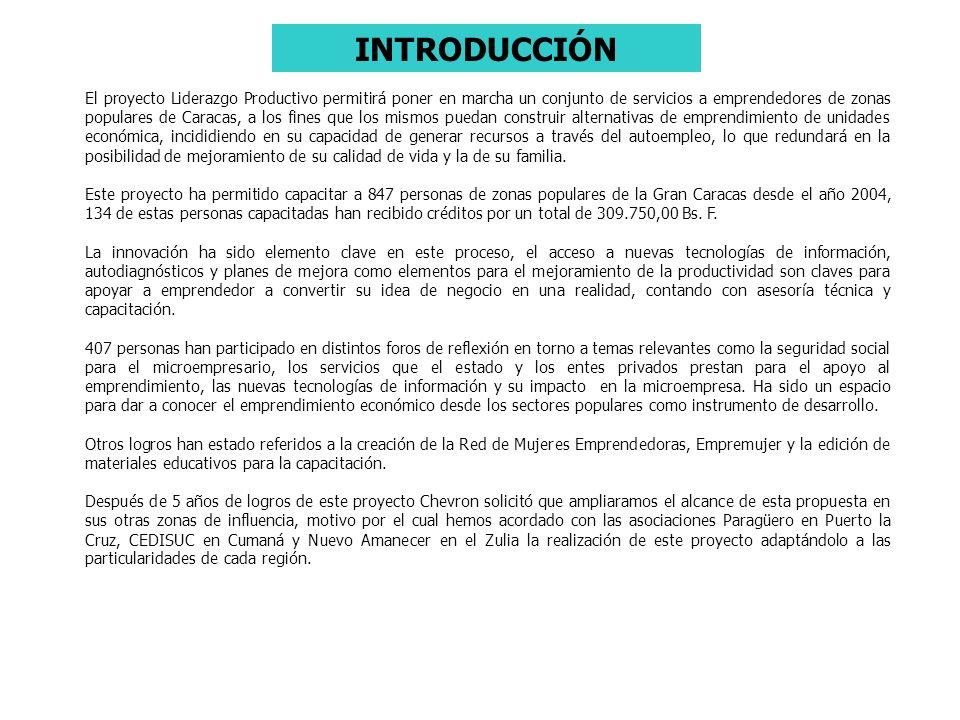 INTRODUCCIÓN El proyecto Liderazgo Productivo permitirá poner en marcha un conjunto de servicios a emprendedores de zonas populares de Caracas, a los