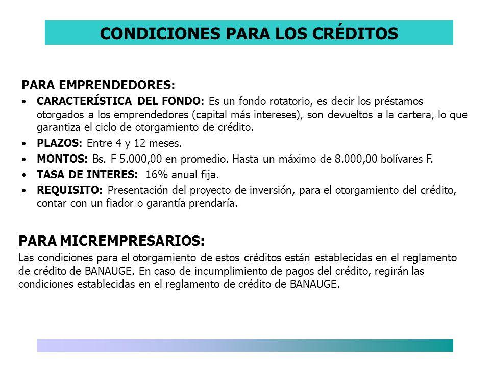 CONDICIONES PARA LOS CRÉDITOS PARA EMPRENDEDORES: CARACTERÍSTICA DEL FONDO: Es un fondo rotatorio, es decir los préstamos otorgados a los emprendedore
