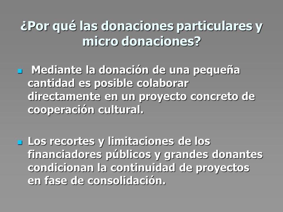 ¿Por qué las donaciones particulares y micro donaciones.