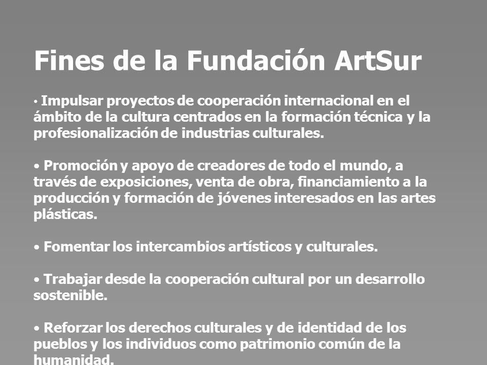 Principales líneas de actuación de la Fundación ArtSur Formación de artistas, creadores y profesionales en el ámbito de los oficios y las artes aplicadas, especialmente en estampación de obra gráfica, Tecnologías de la Información y la Comunicación y fabricación de papel.