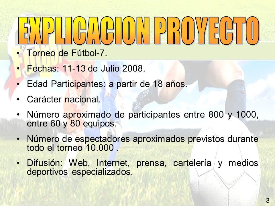 3 Torneo de Fútbol-7. Fechas: 11-13 de Julio 2008. Edad Participantes: a partir de 18 años. Carácter nacional. Número aproximado de participantes entr