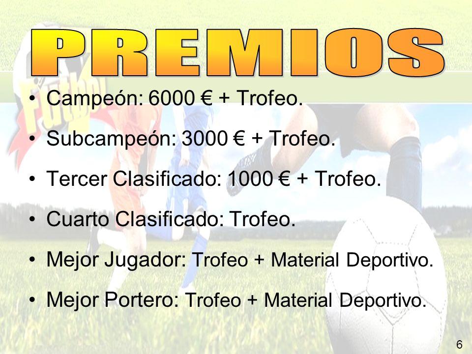 6 Campeón: 6000 + Trofeo. Subcampeón: 3000 + Trofeo. Tercer Clasificado: 1000 + Trofeo. Cuarto Clasificado: Trofeo. Mejor Jugador: Trofeo + Material D