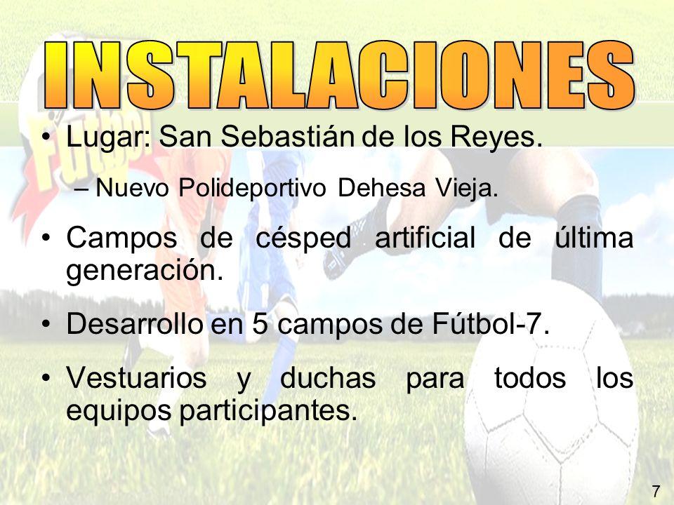 7 Lugar: San Sebastián de los Reyes. –Nuevo Polideportivo Dehesa Vieja. Campos de césped artificial de última generación. Desarrollo en 5 campos de Fú