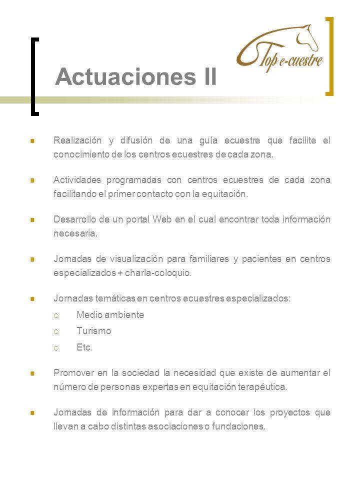 Actuaciones II Realización y difusión de una guía ecuestre que facilite el conocimiento de los centros ecuestres de cada zona. Actividades programadas