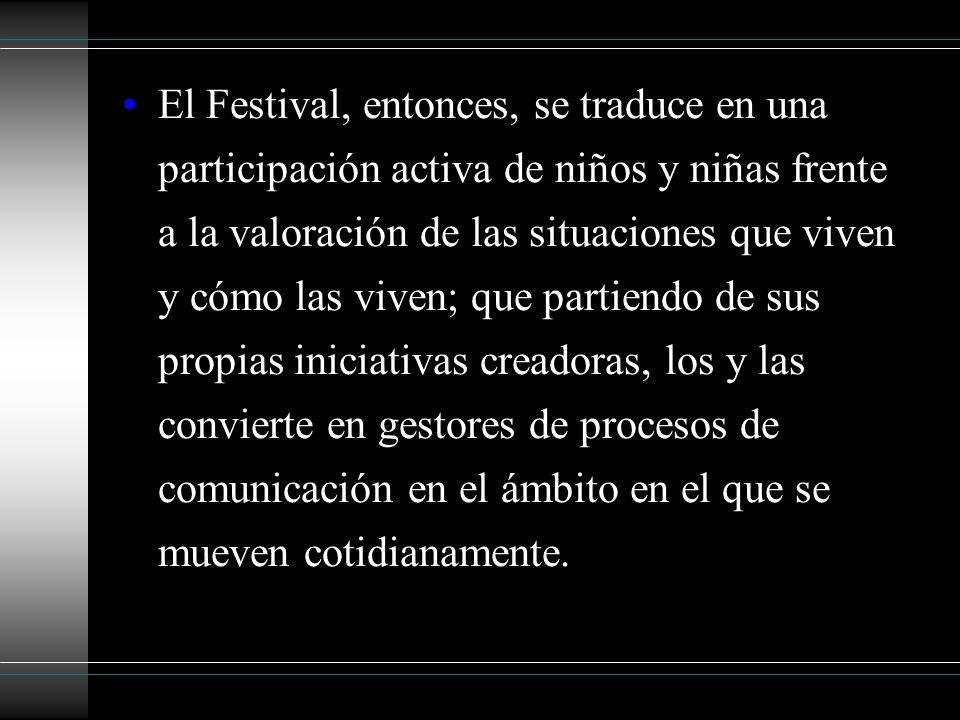 El Festival, entonces, se traduce en una participación activa de niños y niñas frente a la valoración de las situaciones que viven y cómo las viven; q