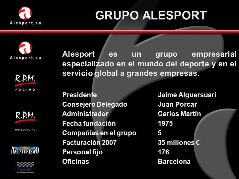 GRUPO ALESPORT Alesport es un grupo empresarial especializado en el mundo del deporte y en el servicio global a grandes empresas. PresidenteJaime Algu