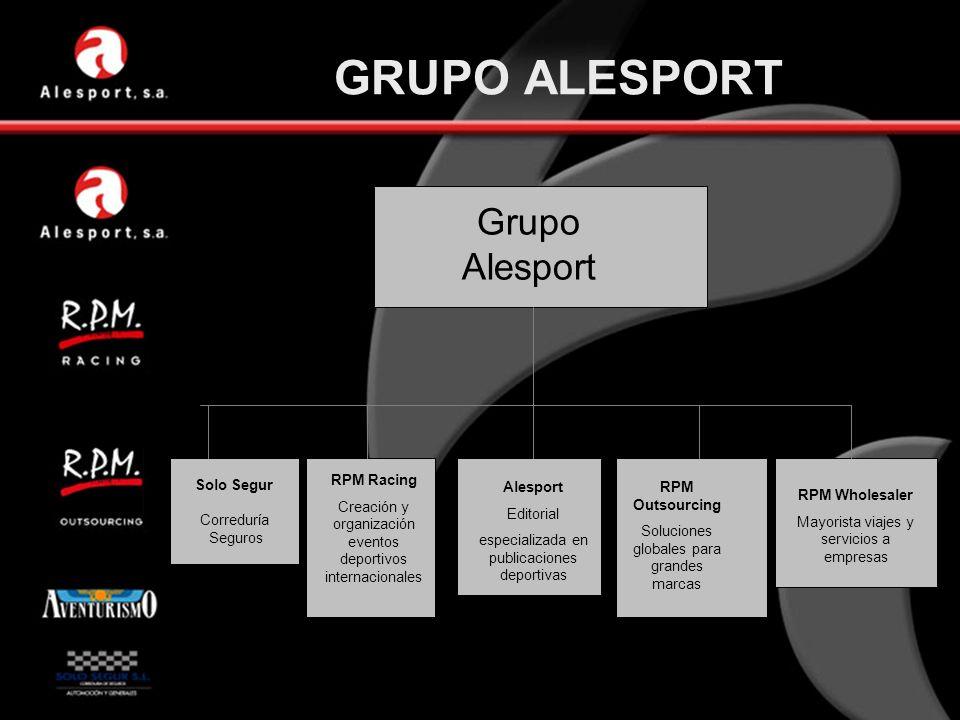 GRUPO ALESPORT Grupo Alesport Solo Segur Correduría Seguros RPM Racing Creación y organización eventos deportivos internacionales Alesport Editorial e