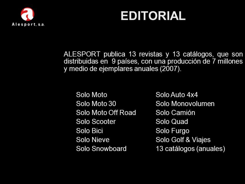 ALESPORT publica 13 revistas y 13 catálogos, que son distribuidas en 9 países, con una producción de 7 millones y medio de ejemplares anuales (2007).