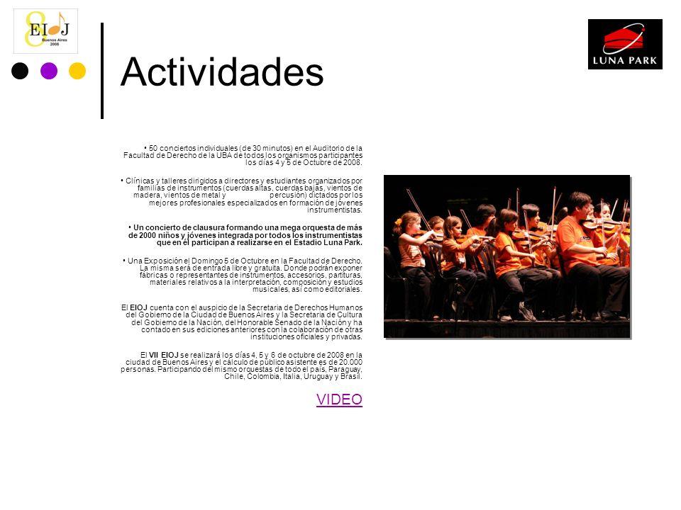 Actividades 50 conciertos individuales (de 30 minutos) en el Auditorio de la Facultad de Derecho de la UBA de todos los organismos participantes los d