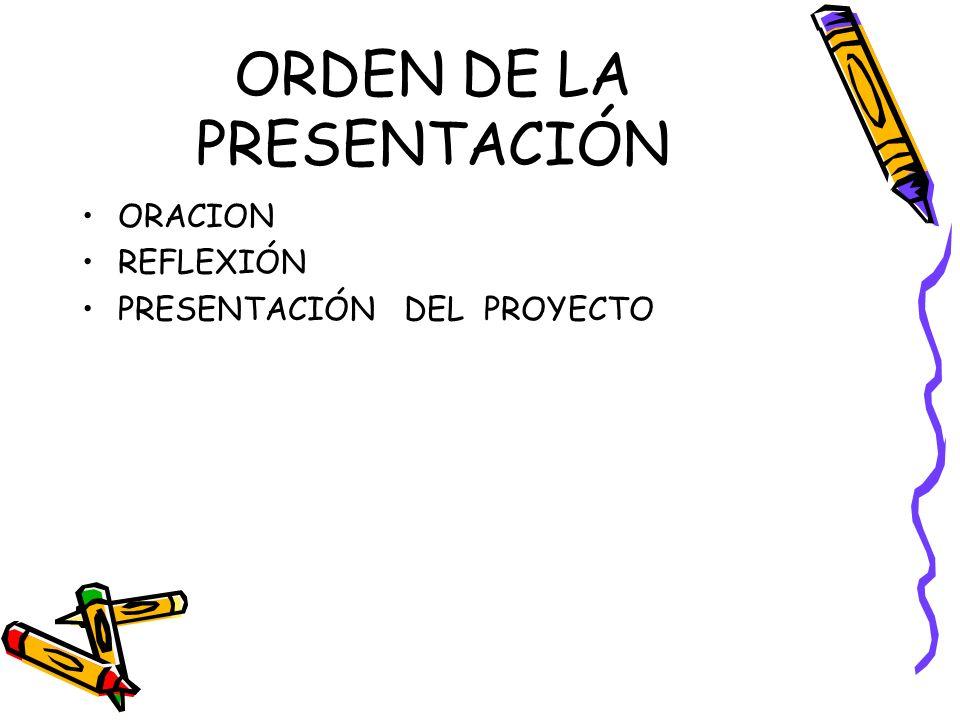 ORDEN DE LA PRESENTACIÓN ORACION REFLEXIÓN PRESENTACIÓN DEL PROYECTO