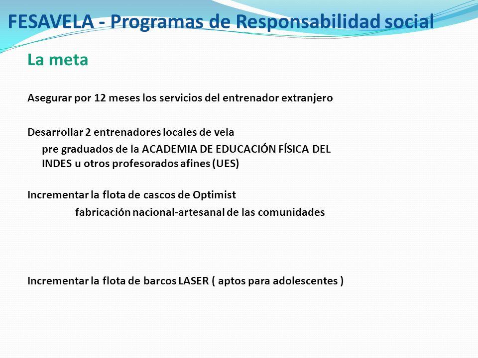 FESAVELA - Programas de Responsabilidad social La meta Asegurar por 12 meses los servicios del entrenador extranjero Desarrollar 2 entrenadores locale