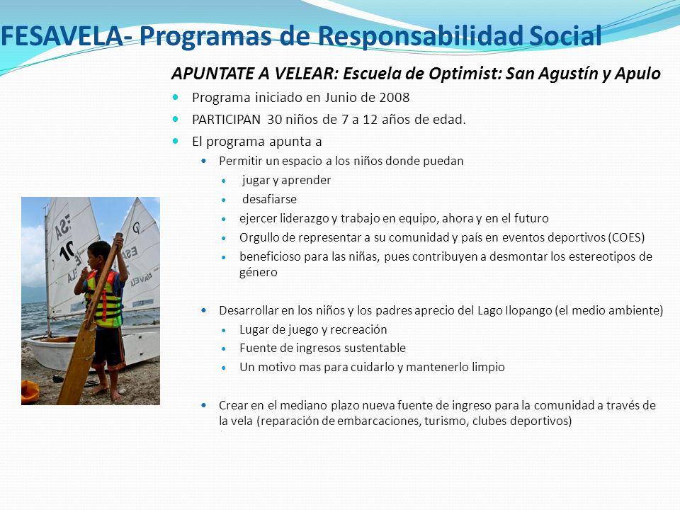 FESAVELA- Programas de Responsabilidad Social APUNTATE A VELEAR: Escuela de Optimist: San Agustín y Apulo Programa iniciado en Junio de 2008 PARTICIPA