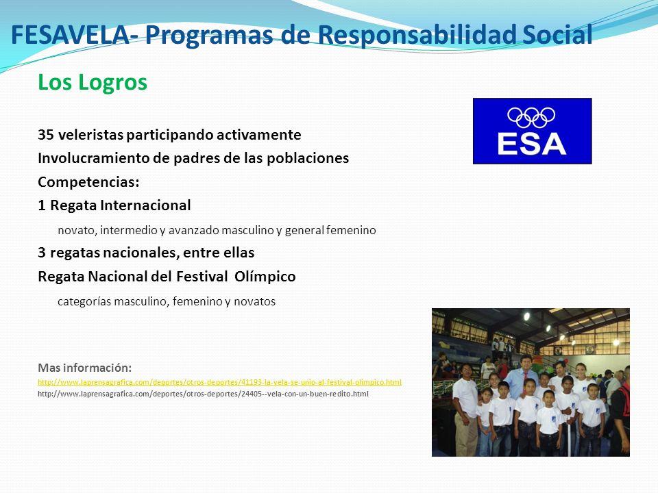 FESAVELA - Programas de Responsabilidad social Los desafíos Dependencia de un entrenador extranjero por mas de 5 años Limitaciones para expansión por falta de embarcaciones y entrenadores a otras comunidades a mas rangos de edad (incorporar adolescentes de 13 a 15 años)