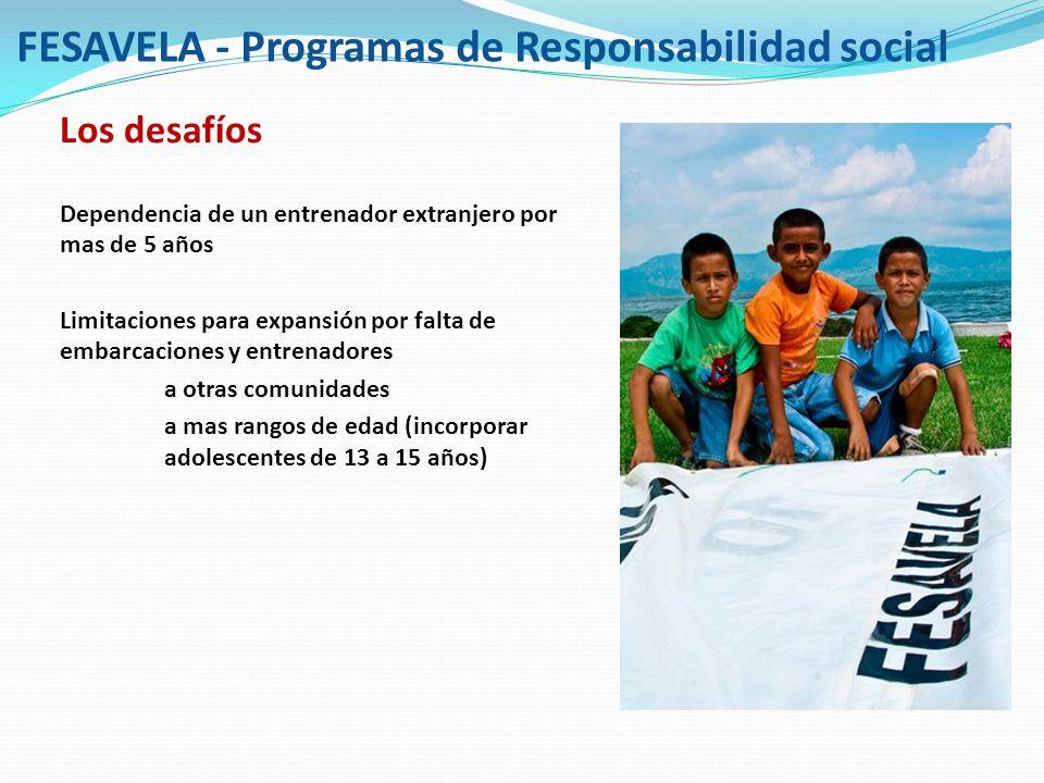 FESAVELA - Programas de Responsabilidad social Los desafíos Dependencia de un entrenador extranjero por mas de 5 años Limitaciones para expansión por
