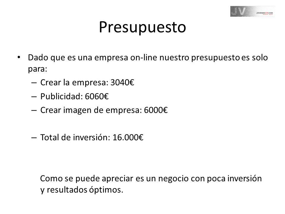 Presupuesto Dado que es una empresa on-line nuestro presupuesto es solo para: – Crear la empresa: 3040 – Publicidad: 6060 – Crear imagen de empresa: 6