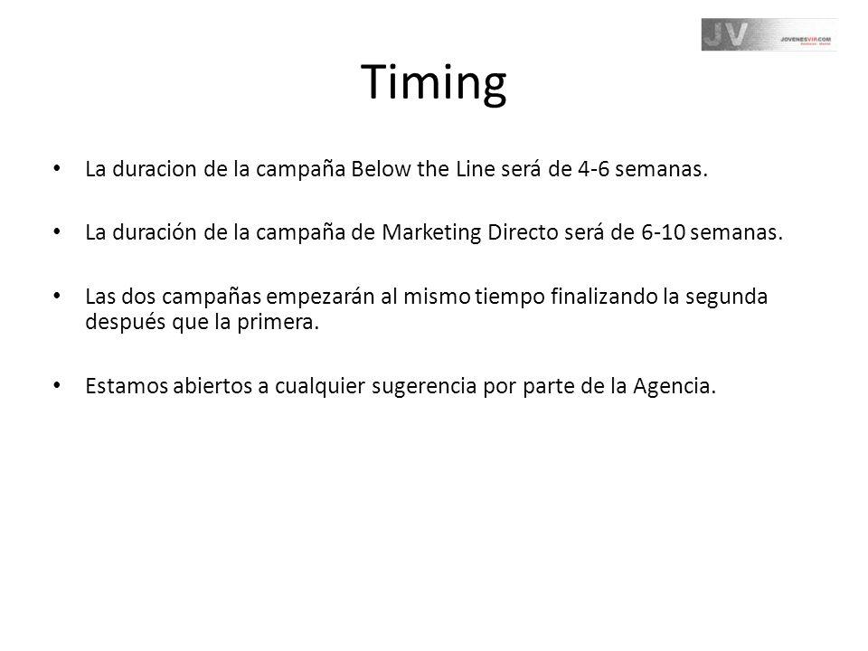 Timing La duracion de la campaña Below the Line será de 4-6 semanas. La duración de la campaña de Marketing Directo será de 6-10 semanas. Las dos camp