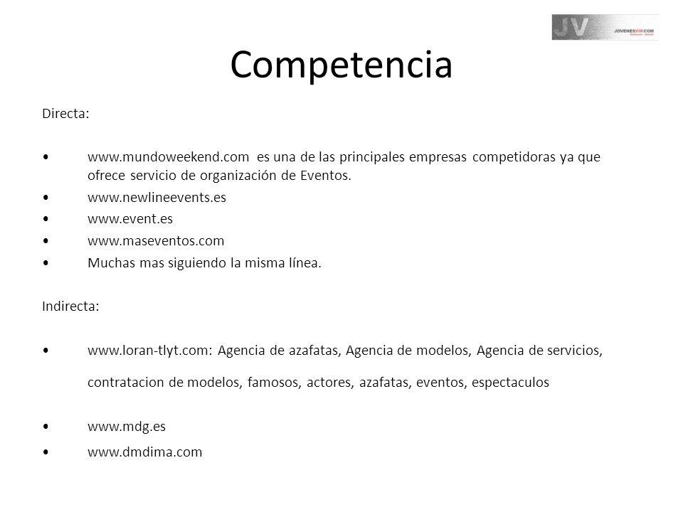 Competencia Directa: www.mundoweekend.com es una de las principales empresas competidoras ya que ofrece servicio de organización de Eventos. www.newli