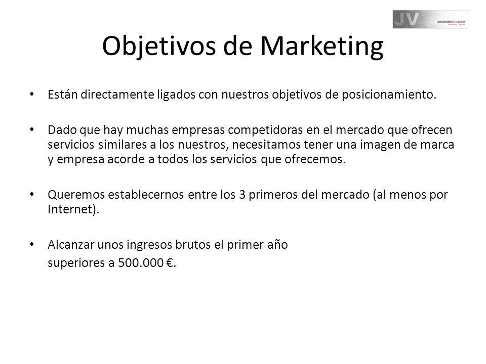 Objetivos de Marketing Están directamente ligados con nuestros objetivos de posicionamiento. Dado que hay muchas empresas competidoras en el mercado q