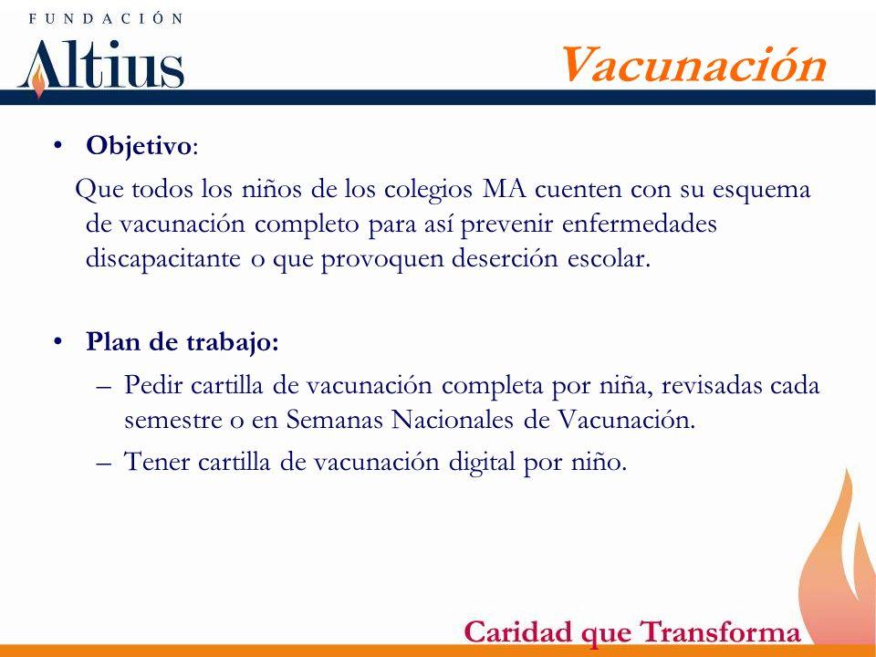 Vacunación Objetivo: Que todos los niños de los colegios MA cuenten con su esquema de vacunación completo para así prevenir enfermedades discapacitant
