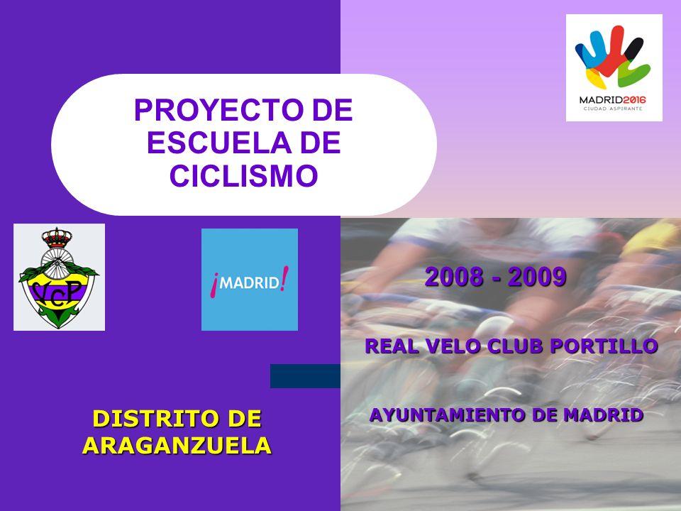 PROYECTO DE ESCUELA DE CICLISMO 2008 - 2009 2008 - 2009 DISTRITO DE ARAGANZUELA REAL VELO CLUB PORTILLO REAL VELO CLUB PORTILLO AYUNTAMIENTO DE MADRID