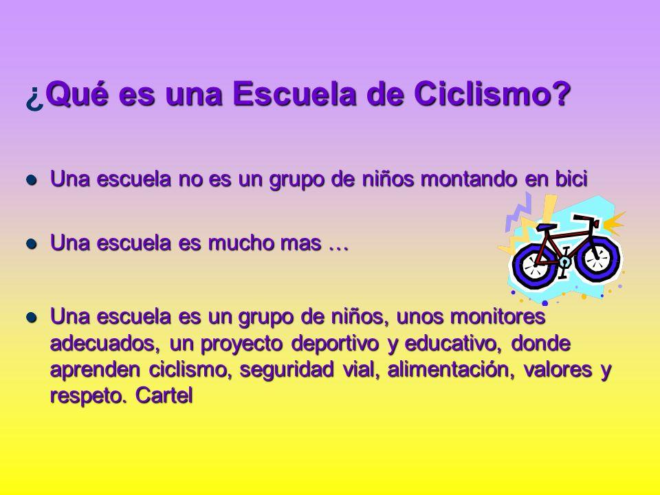 Qué es una Escuela de Ciclismo? ¿Qué es una Escuela de Ciclismo? Una escuela no es un grupo de niños montando en bici Una escuela no es un grupo de ni