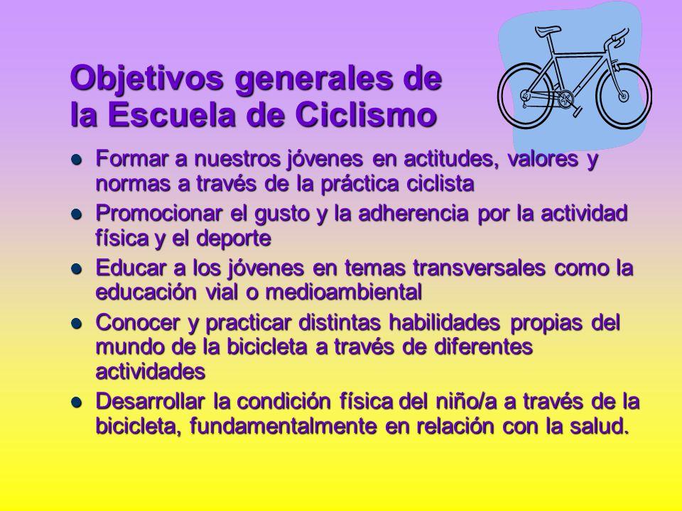 Objetivos generales de la Escuela de Ciclismo Formar a nuestros jóvenes en actitudes, valores y normas a través de la práctica ciclista Formar a nuest