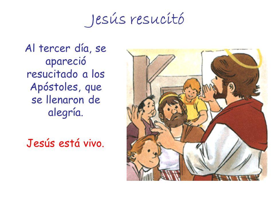 Jesús resucitó Al tercer día, se apareció resucitado a los Apóstoles, que se llenaron de alegría. Jesús está vivo.