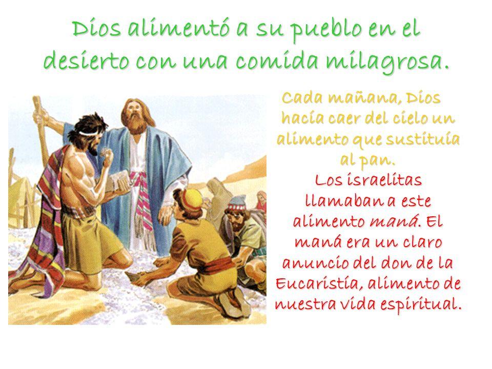 Dios alimentó a su pueblo en el desierto con una comida milagrosa. Cada mañana, Dios hacía caer del cielo un alimento que sustituía al pan. Los israel