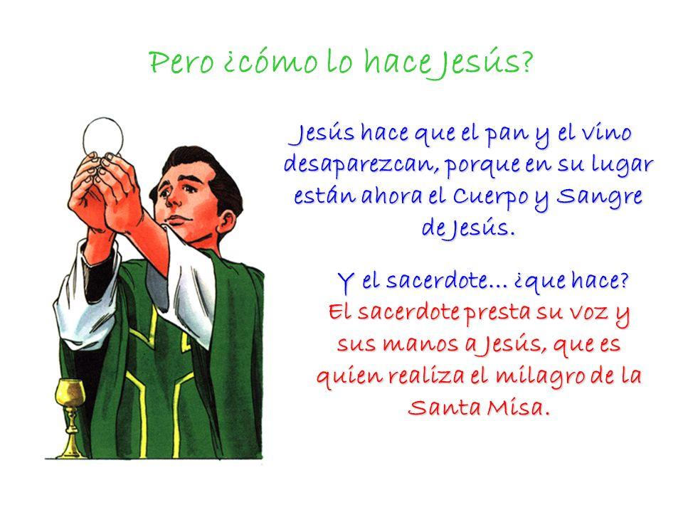 Pero ¿cómo lo hace Jesús? Jesús hace que el pan y el vino desaparezcan, porque en su lugar están ahora el Cuerpo y Sangre de Jesús. Jesús hace que el