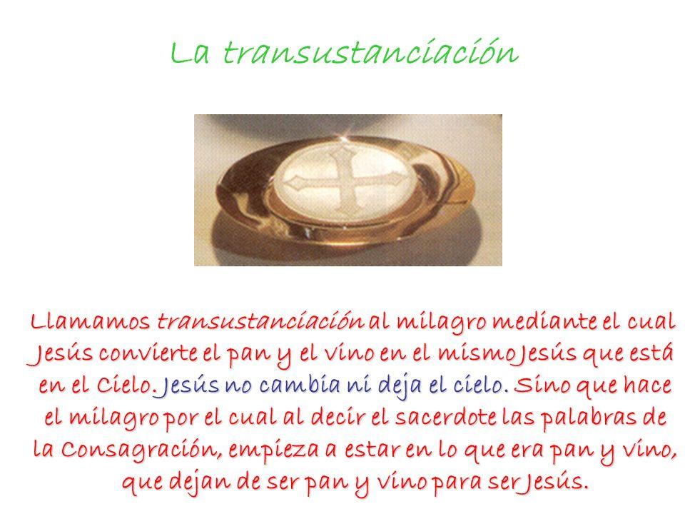 La transustanciación Llamamos transustanciación al milagro mediante el cual Jesús convierte el pan y el vino en el mismo Jesús que está en el Cielo. J