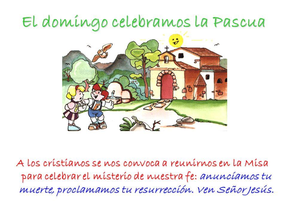 El domingo celebramos la Pascua A los cristianos se nos convoca a reunirnos en la Misa para celebrar el misterio de nuestra fe: anunciamos tu muerte,