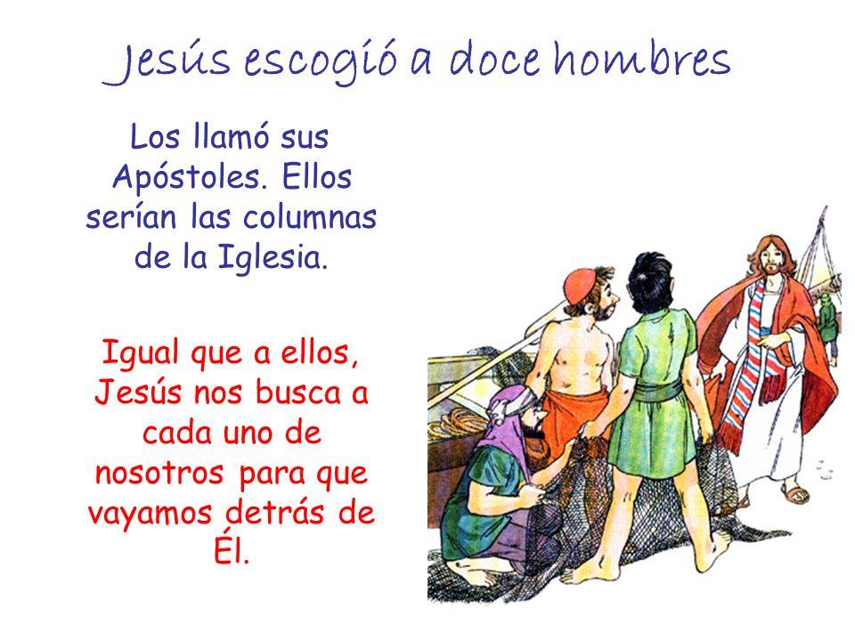Jesús escogió a doce hombres Los llamó sus Apóstoles. Ellos serían las columnas de la Iglesia. Igual que a ellos, Jesús nos busca a cada uno de nosotr