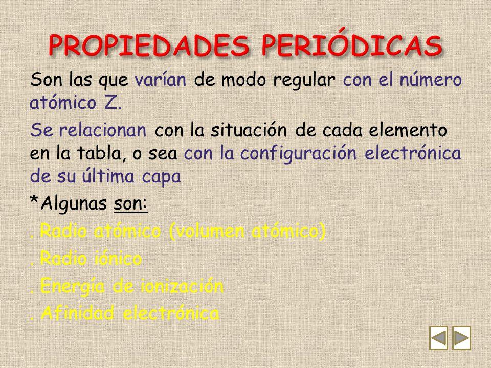 *Representa la distancia que existe entre el núcleo y la capa de valencia (la más externa).