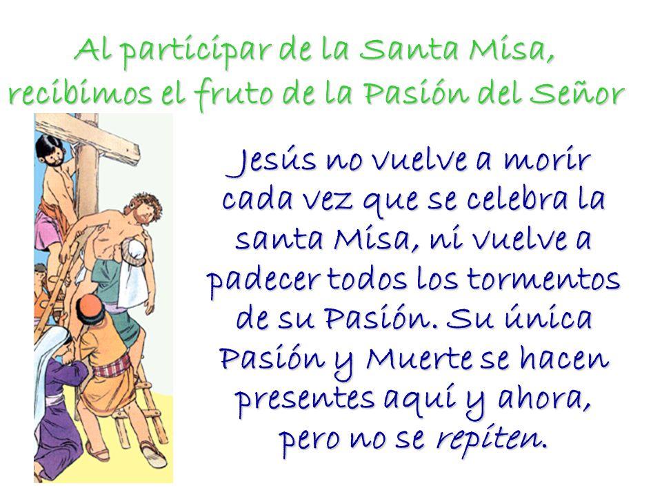 Al participar de la Santa Misa, recibimos el fruto de la Pasión del Señor Jesús no vuelve a morir cada vez que se celebra la santa Misa, ni vuelve a p