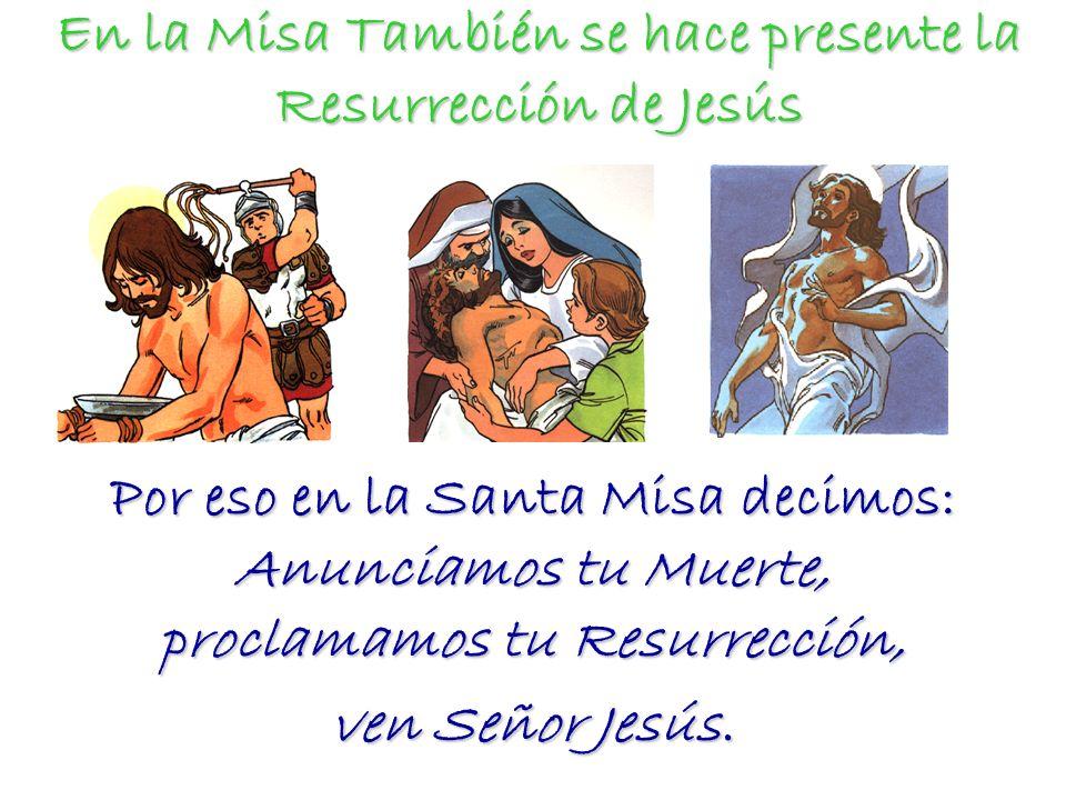 En la Misa También se hace presente la Resurrección de Jesús Por eso en la Santa Misa decimos: Anunciamos tu Muerte, proclamamos tu Resurrección, ven
