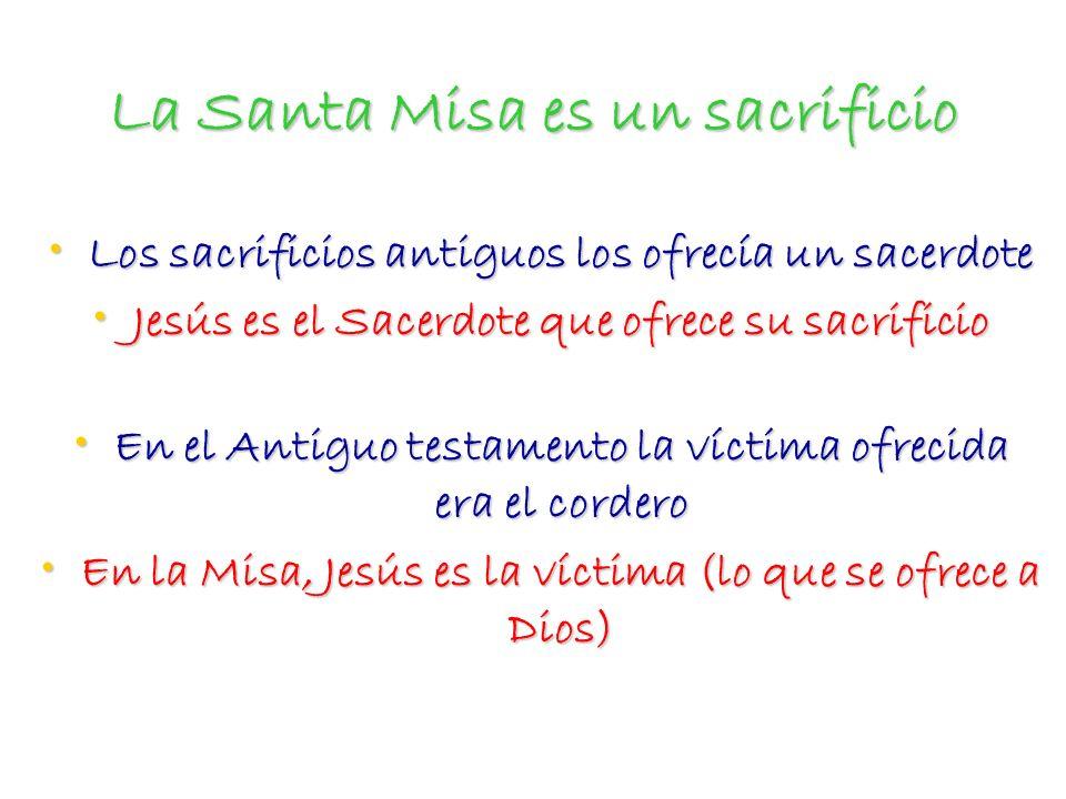 La Santa Misa es un sacrificio Los sacrificios antiguos los ofrecía un sacerdote Los sacrificios antiguos los ofrecía un sacerdote Jesús es el Sacerdo
