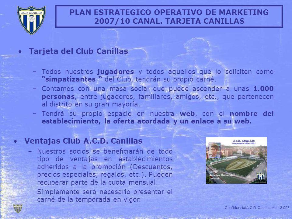 Tarjeta del Club Canillas –Todos nuestros jugadores y todos aquellos que lo soliciten como simpatizantes del Club, tendrán su propio carné. –Contamos