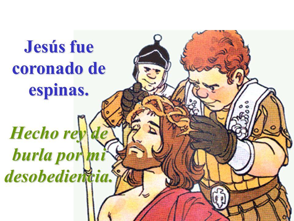 Jesús fue coronado de espinas. Hecho rey de burla por mi desobediencia.