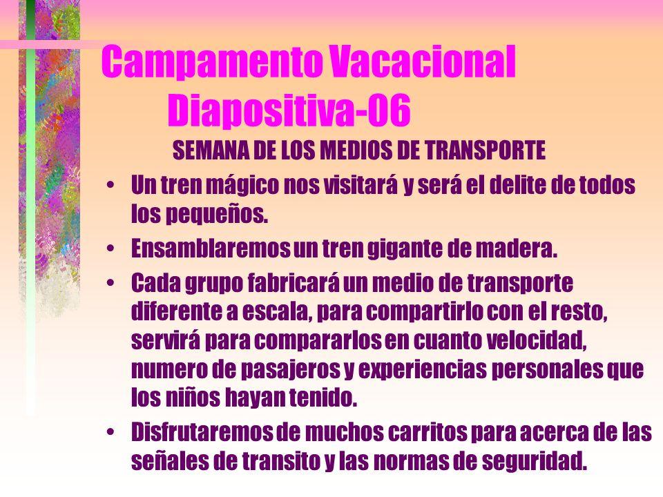 Campamento Vacacional Diapositiva-05 SEMANA INTERNACIONAL Cada grupo escogerá un continente diferente que después ejemplificará al resto, con un viaje