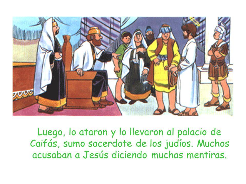 Luego, lo ataron y lo llevaron al palacio de Caifás, sumo sacerdote de los judíos. Muchos acusaban a Jesús diciendo muchas mentiras.