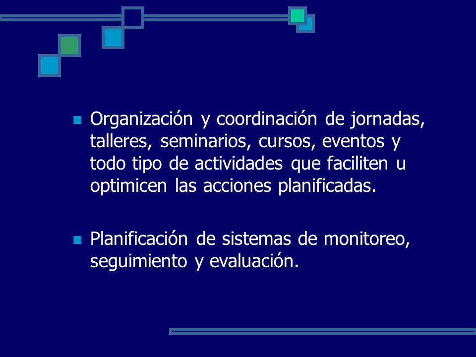 Organización y coordinación de jornadas, talleres, seminarios, cursos, eventos y todo tipo de actividades que faciliten u optimicen las acciones planificadas.