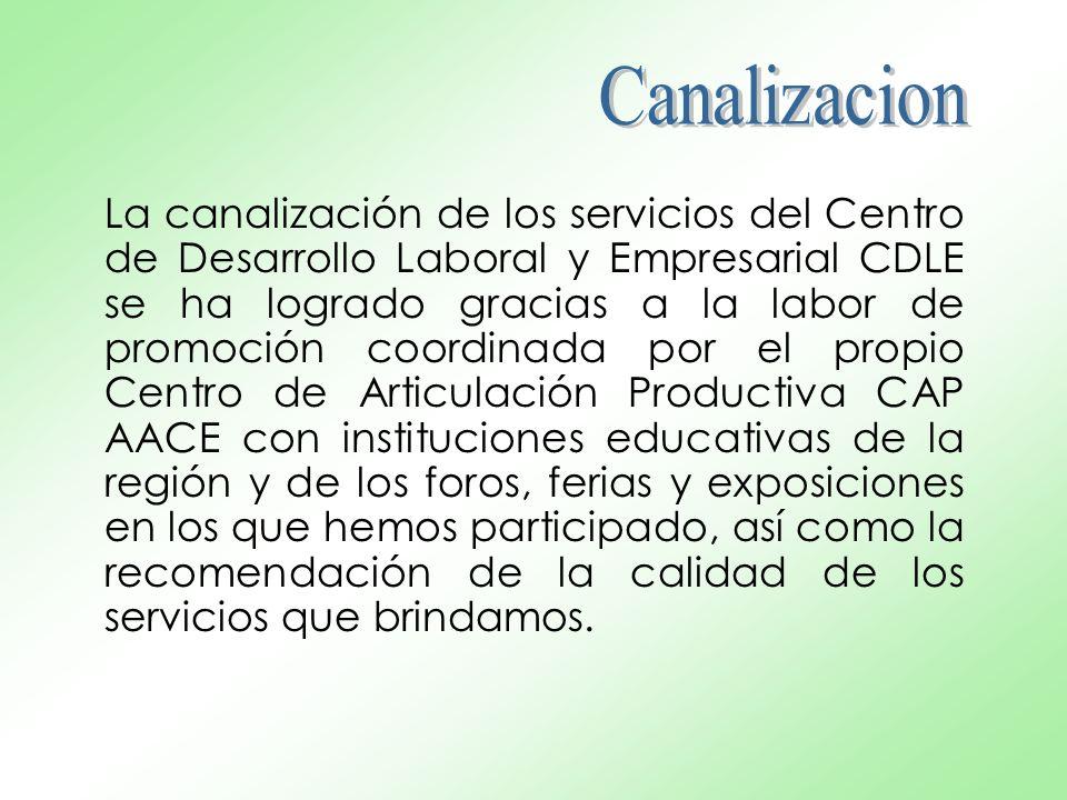 La canalización de los servicios del Centro de Desarrollo Laboral y Empresarial CDLE se ha logrado gracias a la labor de promoción coordinada por el p
