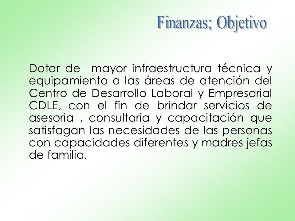 Dotar de mayor infraestructura técnica y equipamiento a las áreas de atención del Centro de Desarrollo Laboral y Empresarial CDLE, con el fin de brind
