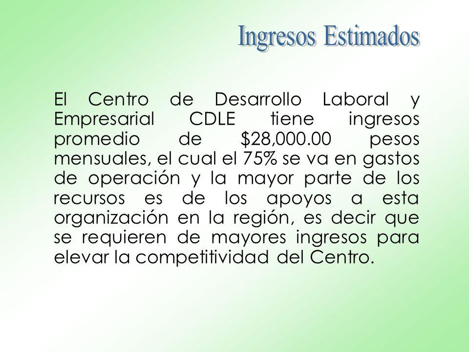 El Centro de Desarrollo Laboral y Empresarial CDLE tiene ingresos promedio de $28,000.00 pesos mensuales, el cual el 75% se va en gastos de operación