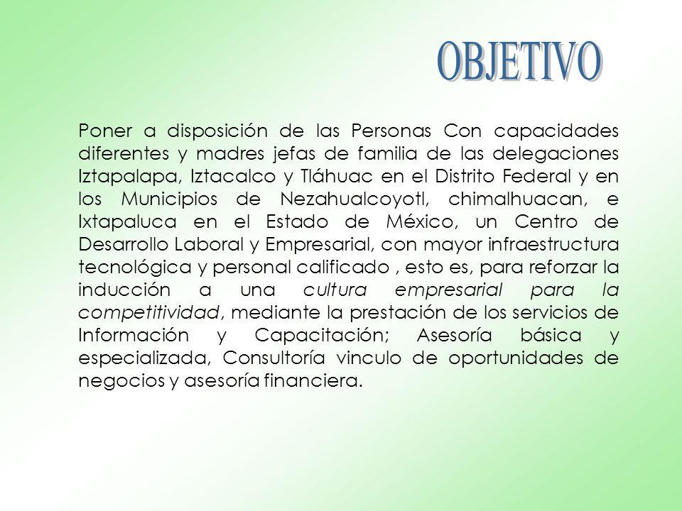 Poner a disposición de las Personas Con capacidades diferentes y madres jefas de familia de las delegaciones Iztapalapa, Iztacalco y Tláhuac en el Distrito Federal y en los Municipios de Nezahualcoyotl, chimalhuacan, e Ixtapaluca en el Estado de México, un Centro de Desarrollo Laboral y Empresarial, con mayor infraestructura tecnológica y personal calificado, esto es, para reforzar la inducción a una cultura empresarial para la competitividad, mediante la prestación de los servicios de Información y Capacitación; Asesoría básica y especializada, Consultoría vinculo de oportunidades de negocios y asesoría financiera.